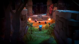 The Last Campfire - The main character Ember walks down a grassy corridor of ruins with lit torches leading to an overgrown staircase and stone door.