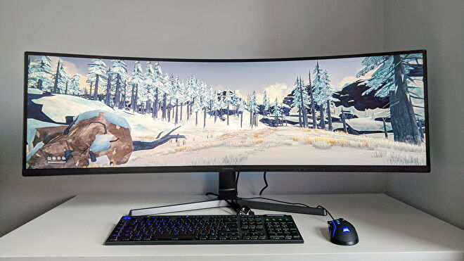 A photo of an ultrawide gaming monitor running The Long Dark