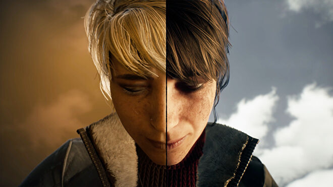 A screenshot of Marianne from The Medium, with half her face in the spirit world and half her face in the real world.