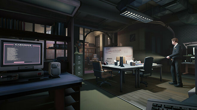 Hiding from an office security guard in a The Occupation screenshot.