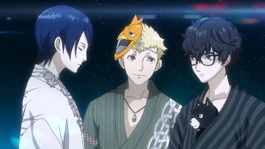 Ryuji, Joker, and Yusuke hang out together in Persona 5 Strikers.