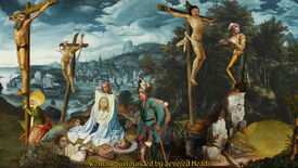 Image for Comedy adventure The Procession To Calvary is made of cut-up Renaissance art