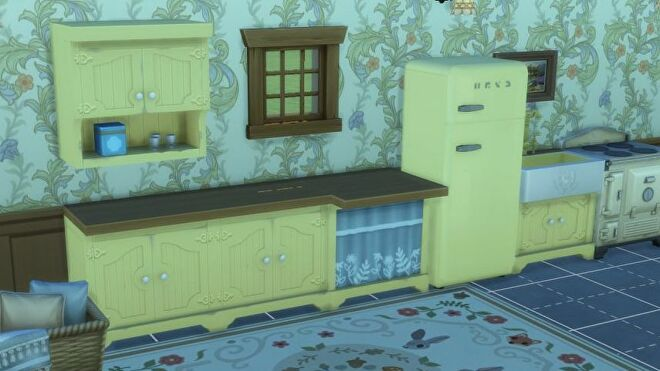 The new kitchen cabinets (plus other kitchen goods including a fridge) in The Sims 4 Cottage Living expansion