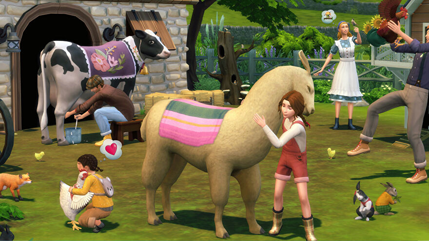 A screenshot from The Sims 4 Cottage Living expansion showing a girl hugging a llama, while others milk cows, hug chickens and otherwise interact with animals.