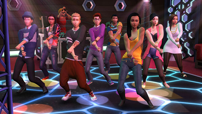 People dancing in a club in a The Sims 4: Get Together screenshot.