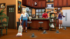 A screenshot of The Sims 4 Bust The Dust kit, showing a woman vacuuming in a kitchen while living dust bunnies hop on the floor.