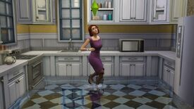 The Sims 4 - Eliza Pancakes plays in a pond that is flooding her kitchen
