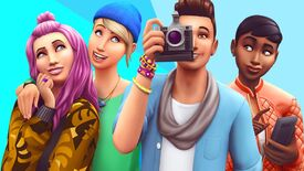 Some happy Sims from the The Sims 4, one of them has a camera and looks like he's taking a photo.