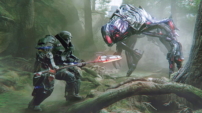 A player aims a spear at a robo-dog-thing in The Surge 2.