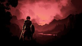 The Vale - A woman wearing armor and holding a sword and shield stands in the foreground of a valley that's colored red in sunset.