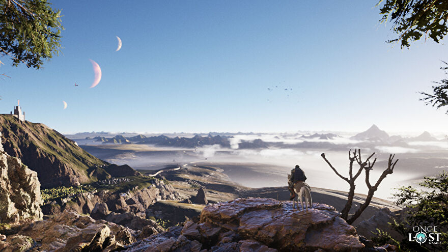The Wayward Realms teaser image - A knight on a horse stands at the edge of a cliff looking over a vista of archipelagos with three moons in the sky