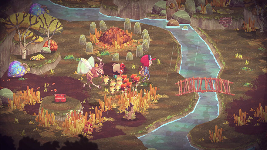 Two kids and a horde of small imp-things running around a pretty forest in The Wild At Heart.