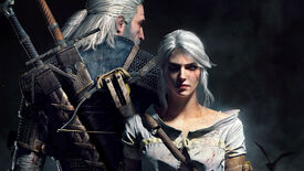 Geralt and Ciri pose back-to-back in The Witcher 3 artwork.