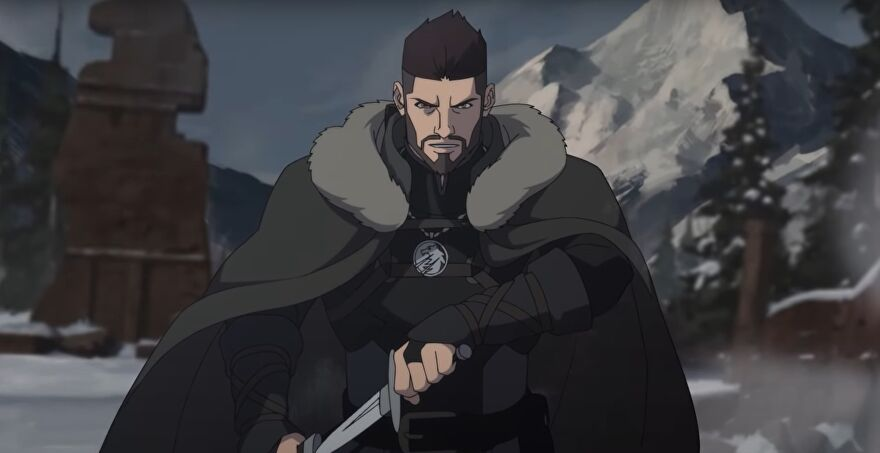 A still image of Vesemir from animated prequel The Witcher: Nightmare Of The Wolf.