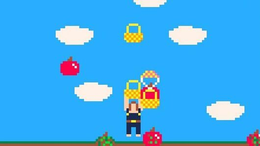 A close up from the game Them Apples, a pico-8 game about stopping apples from hitting the ground. Several apples are floating to the ground in baskets with parachutes, thrown by the player character, who is centre screen.