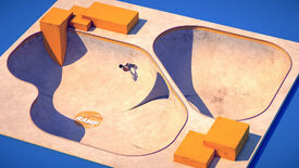A top-down, isometric view of a skateboard park in The Ramp