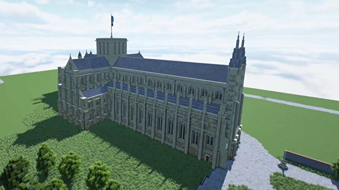 A screenshot of a Minecraft cathedral build.