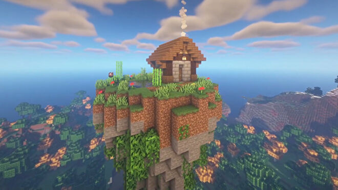 A screenshot of a Minecraft floating base build.