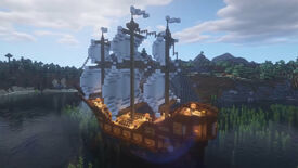 A screenshot of a Minecraft ship build.