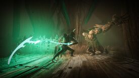 A screenshot of Thymesia, showing a man in robes swinging a green, glowing scythe at a bulky monster.