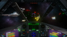 A screenshot of a space ship cockpit looking out a Star Wars Star Destroyer and other space ships in TIE Fighter: Total Conversion