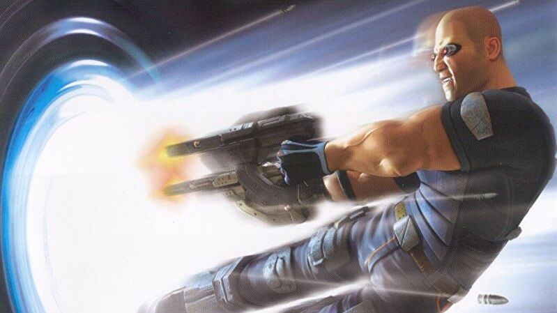 Cortez from TimeSplitters shooting dramatically into a portal.