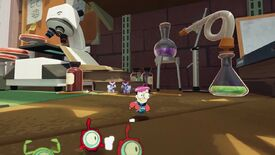 Very small astronaut Milo runs around a very large lab with his tiny alien pals.