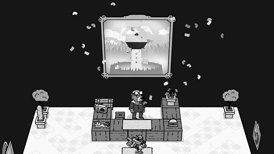 Toem demo - The player character stands in front of a reception desk where a photograph is being unveiled with confetti on the wall behind the bear receptionist.