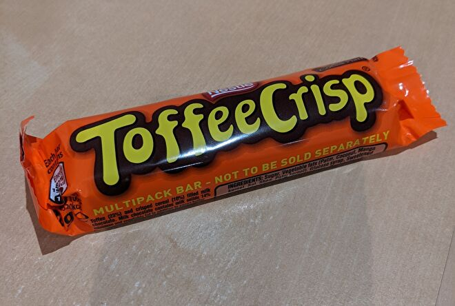 A photo of a Toffee Crisp, who offers no comment.