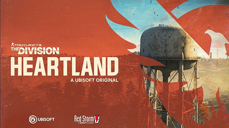 An image for Tom Clancy's The Division: Heartland showing a logo on red and in the background a landscape with a water tower and a lot of trees.