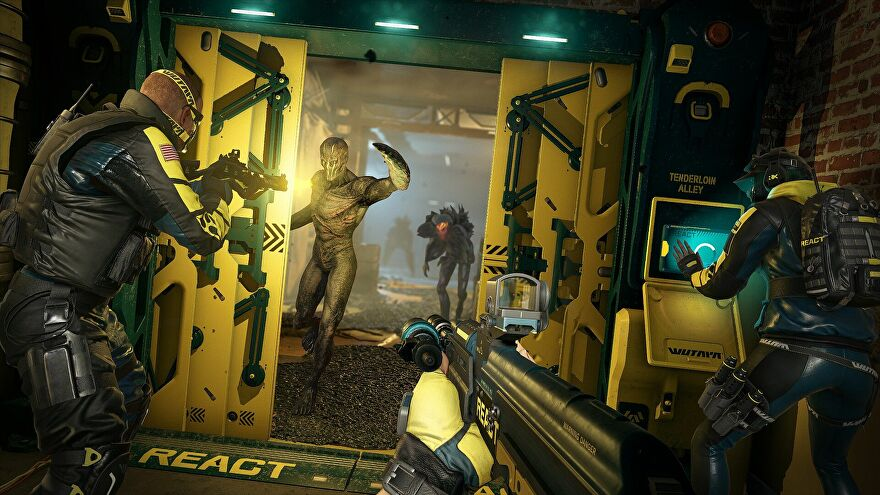 Battling monsters in a Rainbow Six Extraction screenshot.