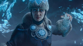 A Kislev ice witch charges her magic in the Total War: Warhammer 3 cinematic trailer.
