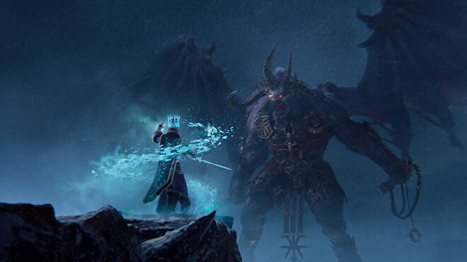 A Kislev ice witch faces a Chaos monster in the Total War: Warhammer 3 cinematic trailer.