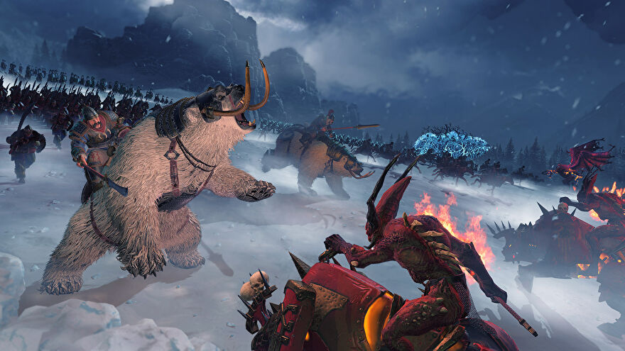 Kislev soldiers riding polar bears fight forces of Chaos in a Total War: Warhammer 3 screenshot.
