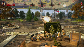Controlling an artillery emplacement in a Toy Soldiers HD screenshot.