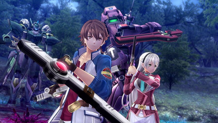 Trails Of Cold Steel IV - Two characters stand armed and ready to fight with mechs behind them.