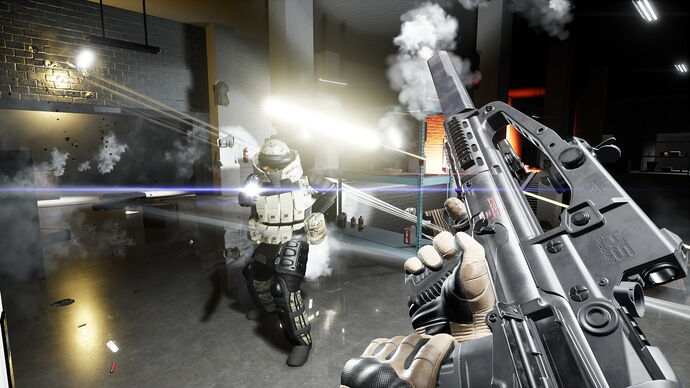 The player reloads their rifle as they stand in front of an armoured soldier in Trepang 2.