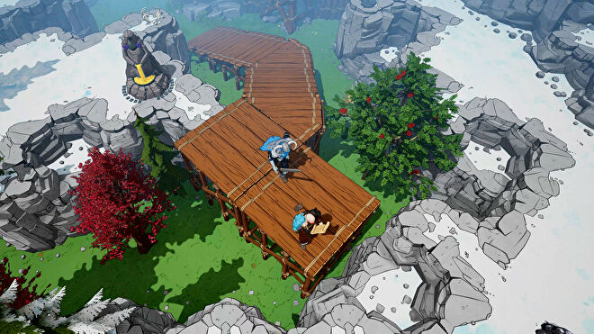 Two vikings walk up a wooden bridge in a mountain scene in Tribes Of Midgard