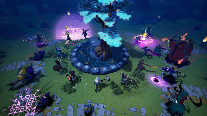 Tribes Of Midgard - Several viking players stand with their backs to a central tree, defending it from encroaching enemies at night.