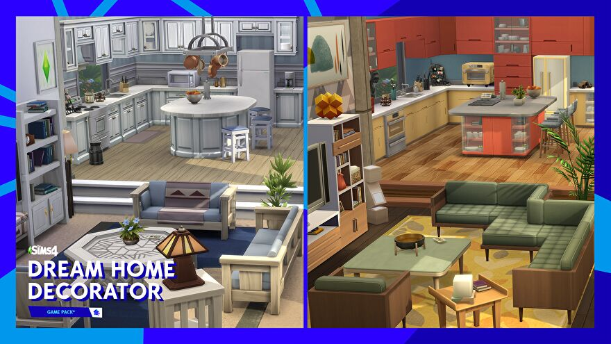 A screenshot of The Sims 4 Dream Home Decorator game pack showing a comparison between a kitchen/living space before and after makeover.