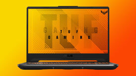 a photo of a tuf gaming a15 laptop, showing its angular design, big screen and light-up keyboard