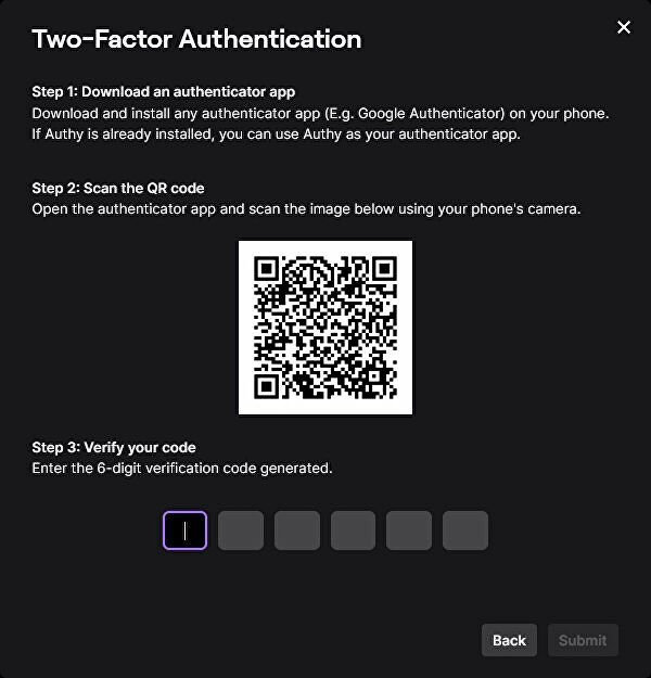 A screenshot of Twitch's instructions on how to enable Two-Factor Authentication.