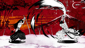 A screenshot of Two Strikes, showing two black and white line art fighters clashing swords in front of a painted red backdrop featuring Mt. Fuji.