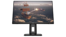 a photo of an hp x24ih 144hz 1080p 24-in gaming monitor