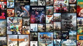 a graphic of ubisoft plus, the company's game subscription service, showing the games available
