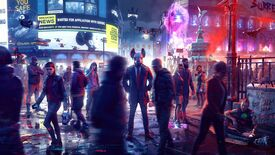 A strange pig-headed man stood in the middle of a dystopian London street in Watch Dogs: Legion.