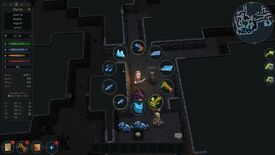An Ultimate ADOM - Caverns Of Chaos screenshot showing an elf battling monsters in a dungeon.
