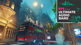 A screenshot of the King's Row map from Overwatch, with the Ultimate Audio Bang podcast logo in the top right