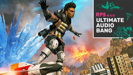 Bangalore from Apex Legends standing on top of a rocket, with the Ultimate Audio Bang podcast logo in the top right