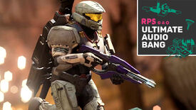 A player in Halo Infinite multiplayer running from an explosion while holding a gun in their hands, with the Ultimate Audio Bang podcast logo in the top right